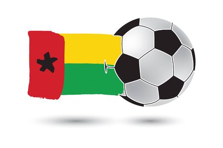 guinea bissau: Soccer ball and Guinea Bissau Flag with colored hand drawn lines