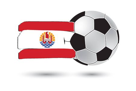 polynesia: Soccer ball and French Polynesia Flag with colored hand drawn lines Stock Photo