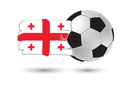 cross match: Soccer ball and Georgia Flag with colored hand drawn lines