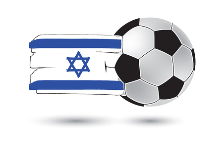 jewish group: Soccer ball and Israel Flag with colored hand drawn lines