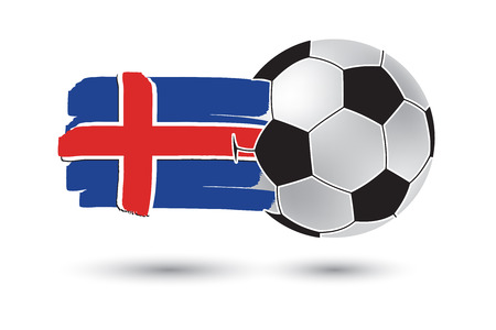 iceland flag: Soccer ball and Iceland Flag with colored hand drawn lines