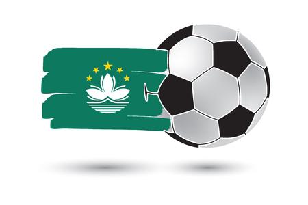 macau: Soccer ball and Macau Flag with colored hand drawn lines Stock Photo