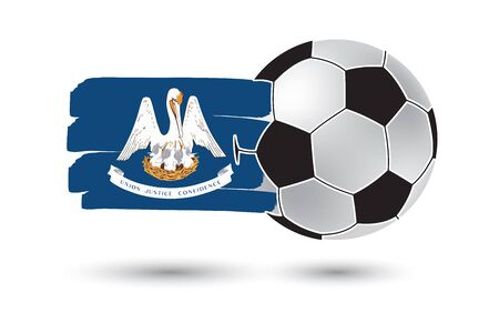louisiana state: Soccer ball and Louisiana State Flag with colored hand drawn lines Stock Photo