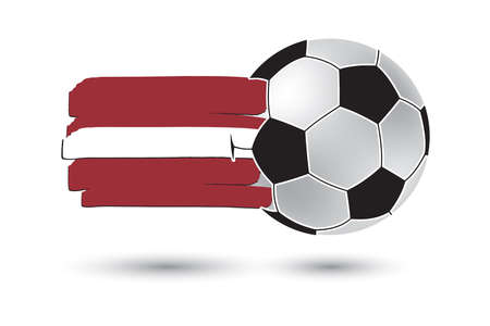 latvia flag: Soccer ball and Latvia Flag with colored hand drawn lines