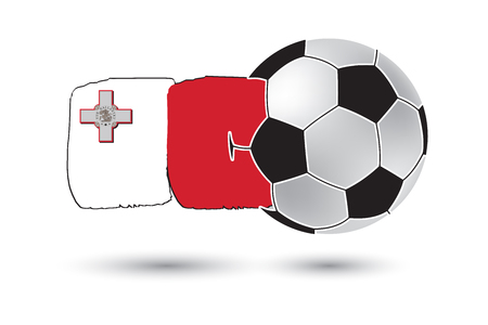 malta flag: Soccer ball and Malta Flag with colored hand drawn lines Stock Photo