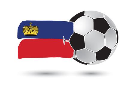lichtenstein: Soccer ball and Lichtenstein Flag with colored hand drawn lines
