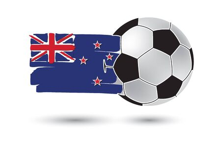 new zealand flag: Soccer ball and New Zealand Flag with colored hand drawn lines