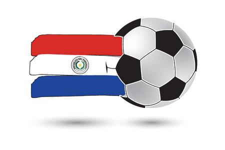 bandera de paraguay: bal�n de f�tbol y la bandera de Paraguay con las l�neas dibujadas a mano de colores