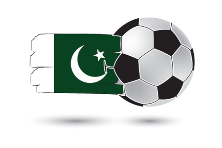 pakistan flag: Soccer ball and Pakistan Flag with colored hand drawn lines Stock Photo