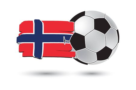 norway flag: Soccer ball and Norway Flag with colored hand drawn lines Stock Photo