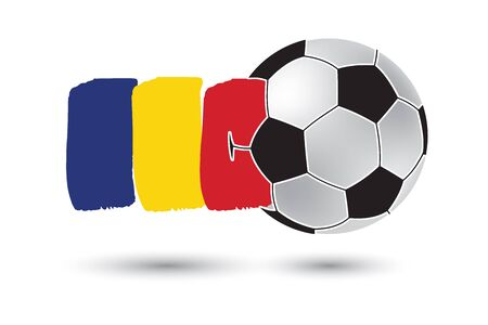 football european championship: Soccer ball and Romania Flag with colored hand drawn lines