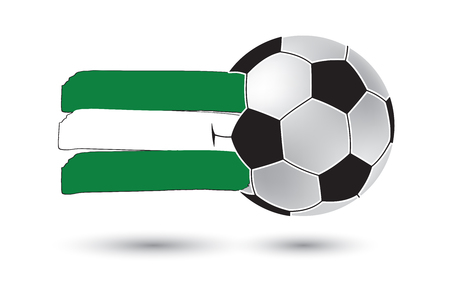 rotterdam: Soccer ball and Rotterdam City Flag with colored hand drawn lines
