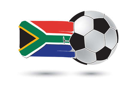 south africa flag: Soccer ball and South Africa Flag with colored hand drawn lines Stock Photo