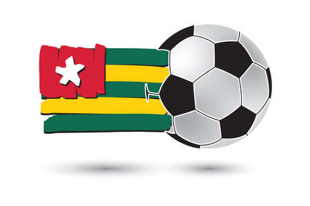 togo: Soccer ball and Togo Flag with colored hand drawn lines Stock Photo