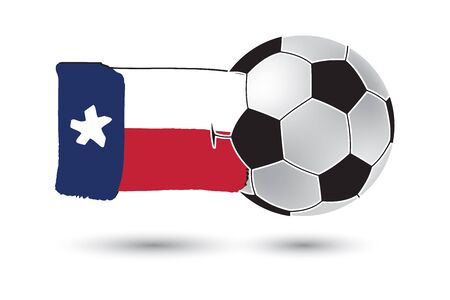 texas state flag: Soccer ball and Texas State Flag with colored hand drawn lines