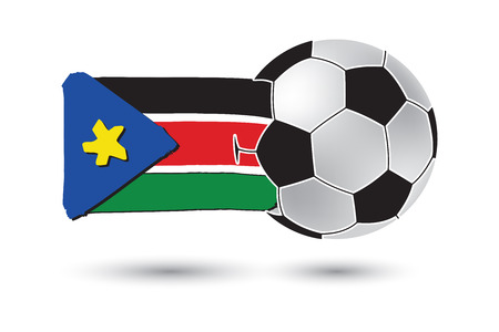 south sudan: Soccer ball and South Sudan Flag with colored hand drawn lines