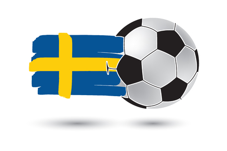 bandera suecia: Soccer ball and Sweden Flag with colored hand drawn lines Foto de archivo