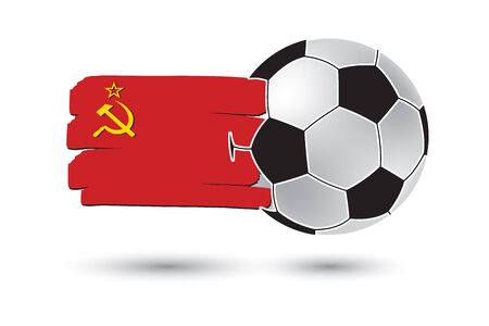 ussr: Soccer ball and USSR Flag with colored hand drawn lines