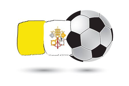 vatican city: Soccer ball and Vatican City Flag with colored hand drawn lines Stock Photo