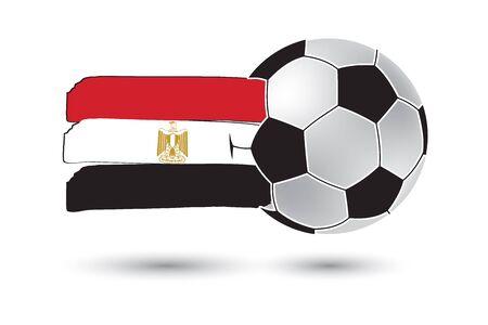 bandera de egipto: bal�n de f�tbol y la bandera de Egipto con l�neas dibujadas a mano de colores