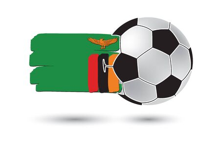 zambia flag: Soccer ball and Zambia Flag with colored hand drawn lines Stock Photo