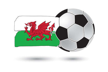 wales: Soccer ball and Wales Flag with colored hand drawn lines