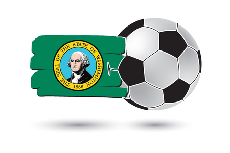 washington state: Soccer ball and Washington State Flag with colored hand drawn lines