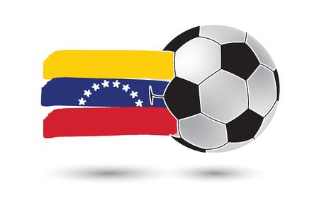 venezuela flag: bal�n de f�tbol y la bandera de Venezuela con las l�neas dibujadas a mano de colores Foto de archivo