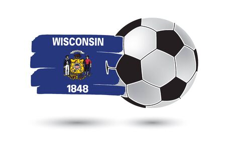 wisconsin state: Soccer ball and Wisconsin State Flag with colored hand drawn lines