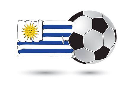 bandera de uruguay: bal�n de f�tbol y la bandera de Uruguay. con las l�neas dibujadas a mano de colores Foto de archivo