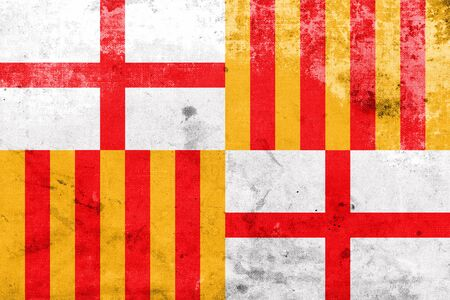 catalonia: Flag of Barcelona, with a vintage and old look