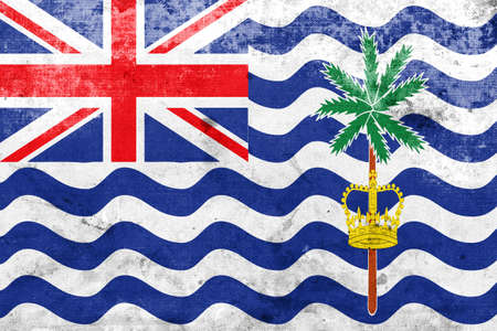 indian ocean: Flag of British Indian Ocean Territory, with a vintage and old look