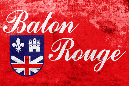 baton rouge: Flag of Baton Rouge, Louisiana, with a vintage and old look