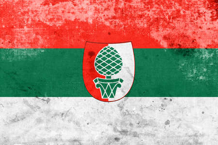 education policy: Flag of Augsburg, with a vintage and old look