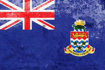 cayman islands: Flag of Cayman Islands, with a vintage and old look