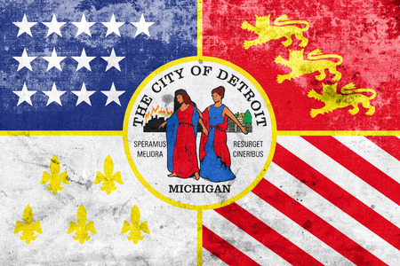 education policy: Flag of Detroit, Michigan, with a vintage and old look