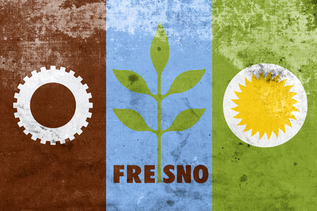 land mark: Flag of Fresno, California, with a vintage and old look