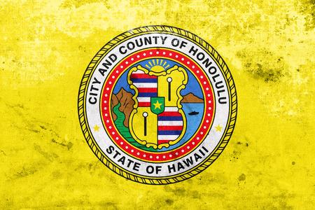 honolulu: Flag of Honolulu, Hawaii, with a vintage and old look