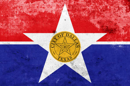 polity: Flag of Dallas, Texas, with a vintage and old look