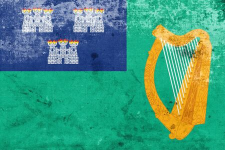 ireland cities: Flag of Dublin, with a vintage and old look
