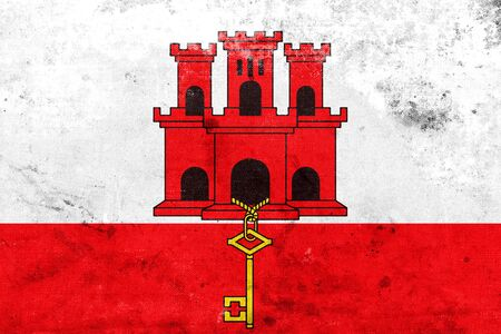 education policy: Flag of Gibraltar, with a vintage and old look