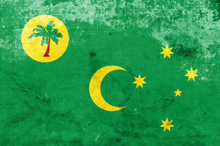 land mark: Flag of Cocos Islands, with a vintage and old look