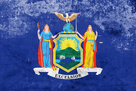 new look: Flag of New York State, with a vintage and old look