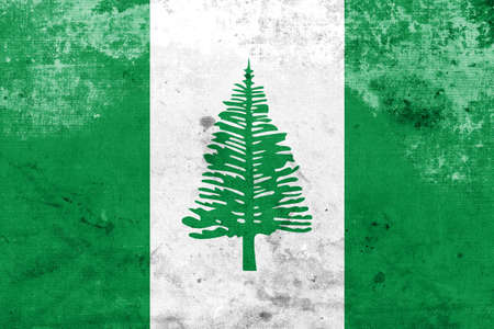 kingston: Flag of Norfolk Island, with a vintage and old look