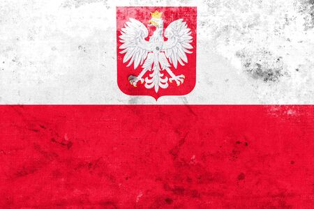 polity: Flag of Poland with Coat of Arms, with a vintage and old look Stock Photo