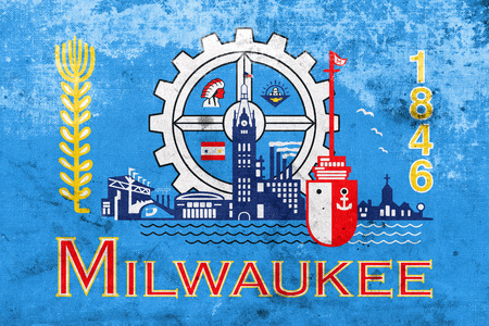 milwaukee: Flag of Milwaukee, Wisconsin, with a vintage and old look Stock Photo