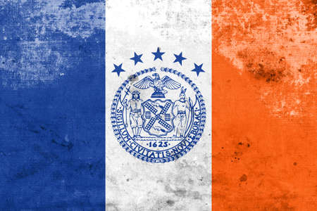 old new york: Flag of New York City, with a vintage and old look Stock Photo