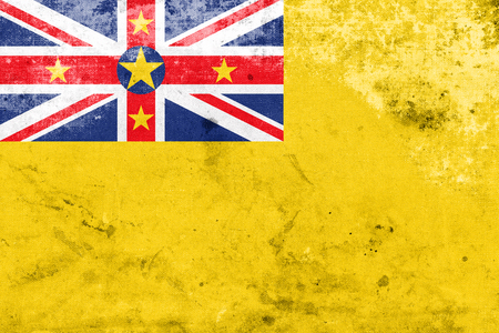 niue: Flag of Niue, with a vintage and old look