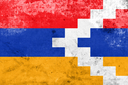 polity: Flag of Nagorno Karabakh, with a vintage and old look Stock Photo