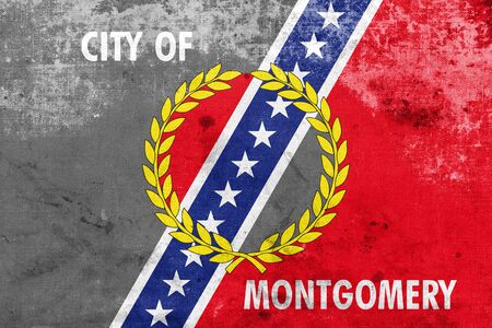 montgomery: Flag of Montgomery, Alabama, with a vintage and old look
